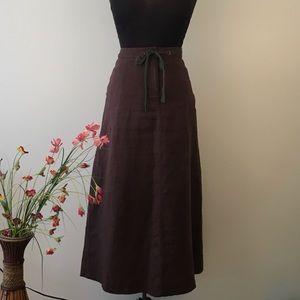 """100% linen skirt size 14- 36"""" long brown"""